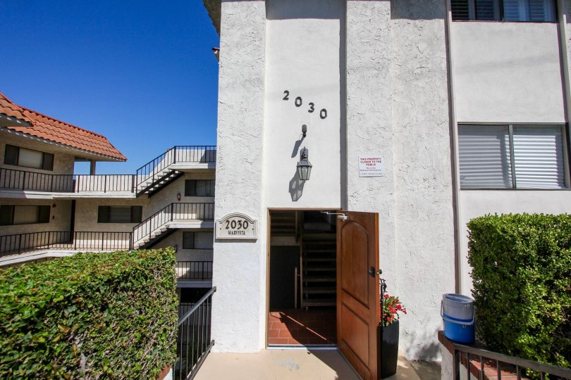 The address above the entrance into Mar Vista in San Pedro California