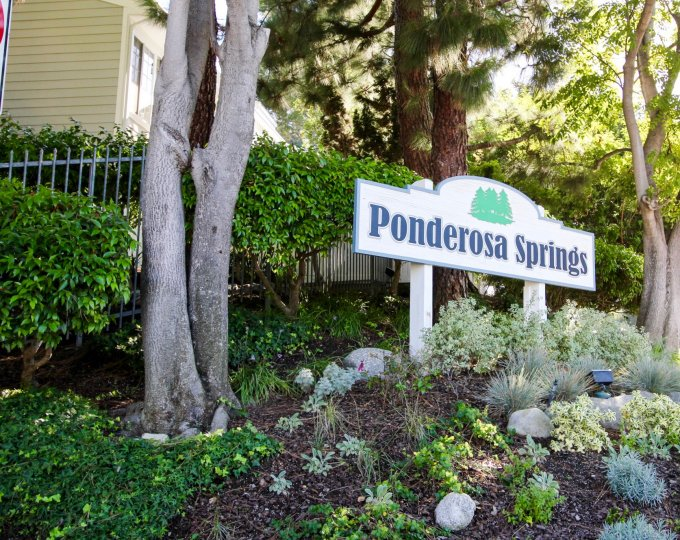 The sign for Ponderosa Springs in San Pedro California