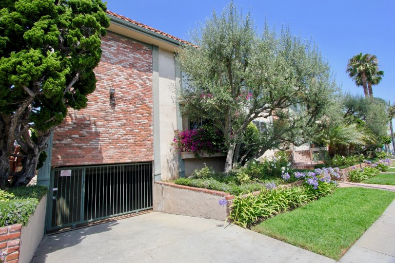 Clear skies, green lawn, brick walls of 1021 5th St, Santa Monica California