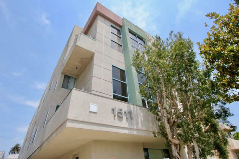 A sunny day at the front part of the 1511 16th St's community in Santa Monica, CA