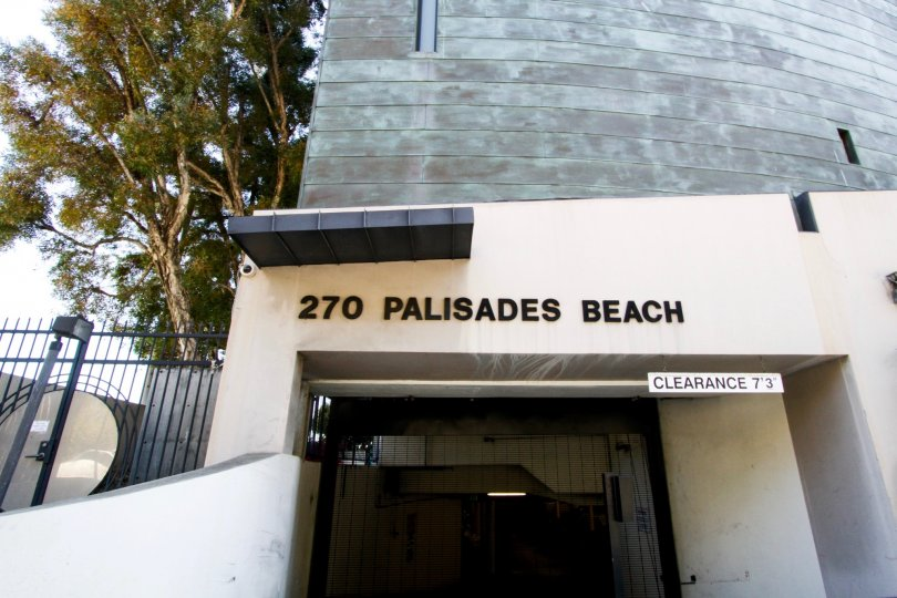 The entrance into the underground parking at 270 Palisades Beach
