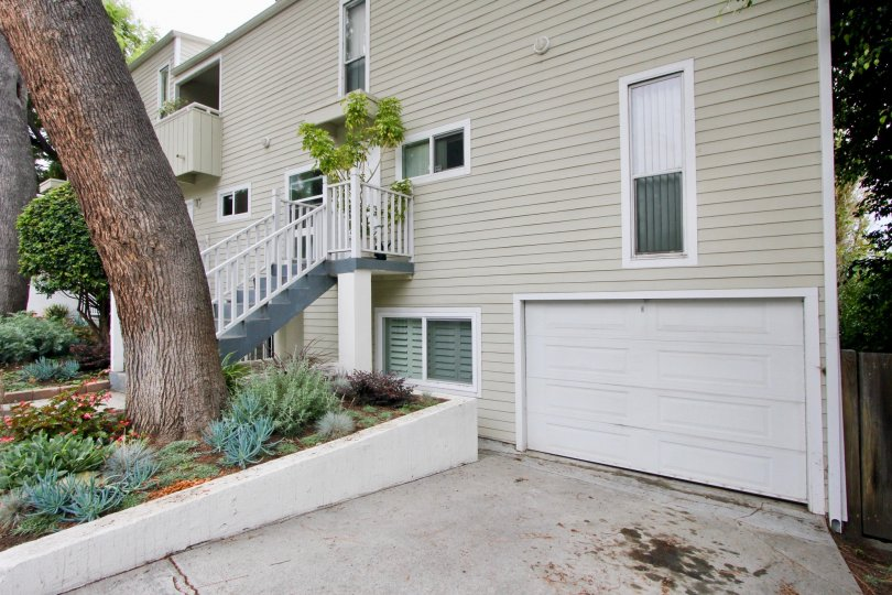 White Stairs and garage with a tree at 3101 Fith in Santa Monica