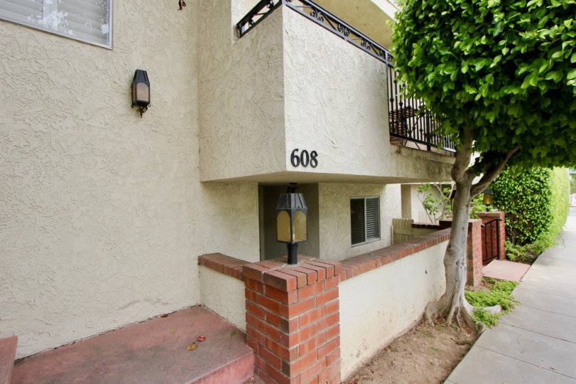 Home in santa monica with 608 number and large tree
