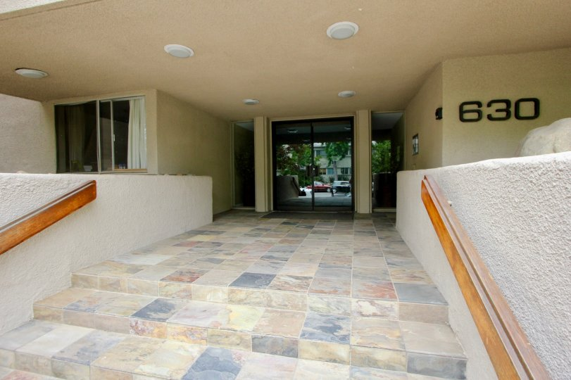 A sharp looking entry way to an office building with beautiful tile in Santa Monica, CA.