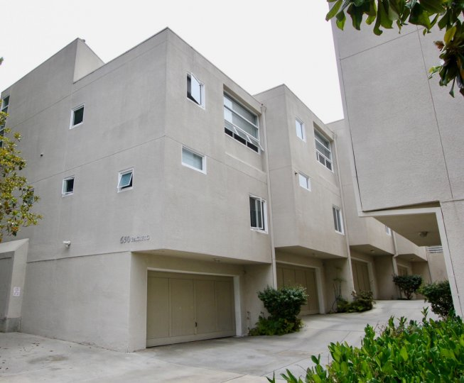 Rear corner elevation with Garage of 650 Pacific, Santa Monica, California