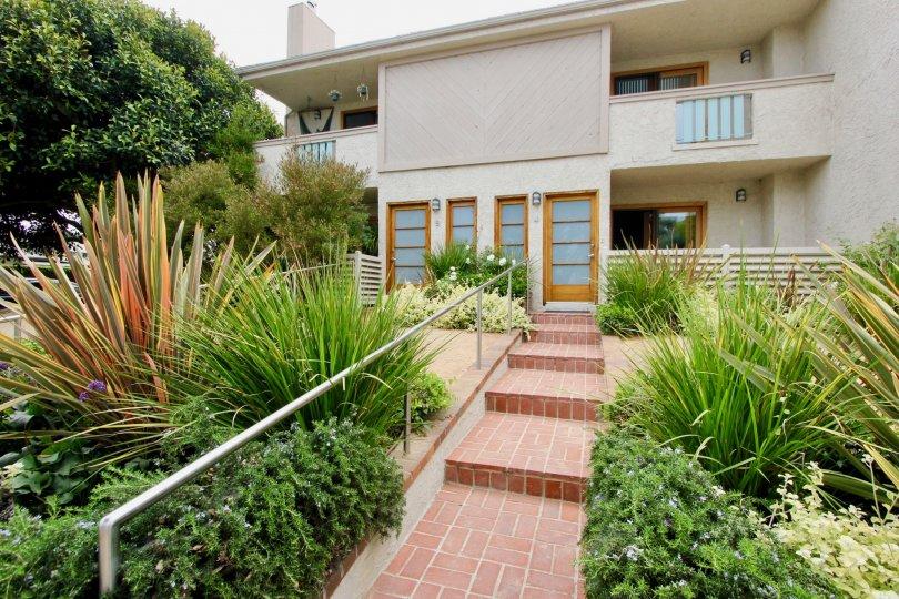 Entrance steps to Bay Blue Vista at Santa Monica, California