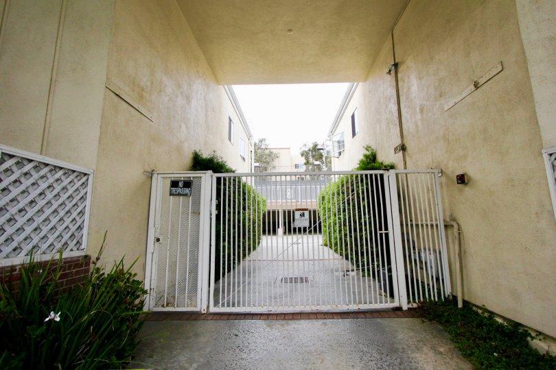 Hedges under a breezeway in a gated complex in La Belle Monique in Santa Monica, California