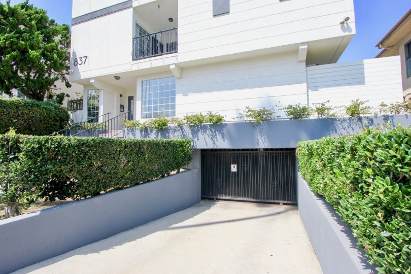 A sunny day in the Lincoln Manor community in Santa Monica, California with trimmed hedges.
