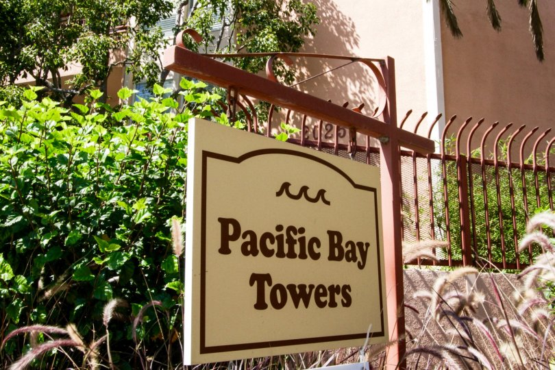 The sign welcoming you to the Pacific Bay Towers in Santa Monica