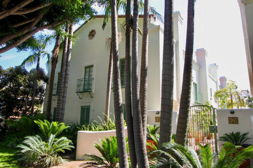 A beautiful day in the Quintas Malaga santa monica with a beautiful garden and gate.