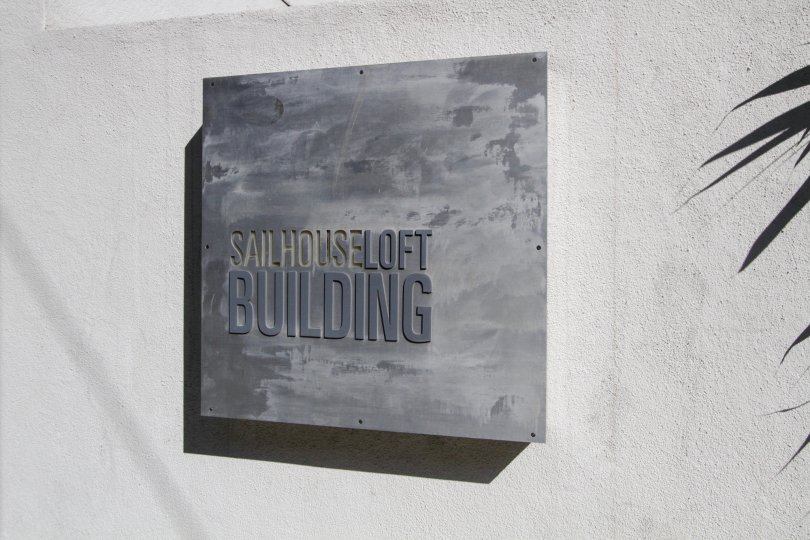 The plaque announcing the Sailhouse Lofts