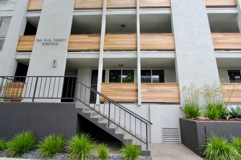 Modern building with garden in the Santa Monica Terrace community.