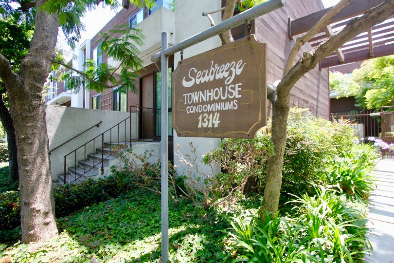 Entrance signage to the amazingly beautiful Seabreeze Townhomes, Santa Monica, California