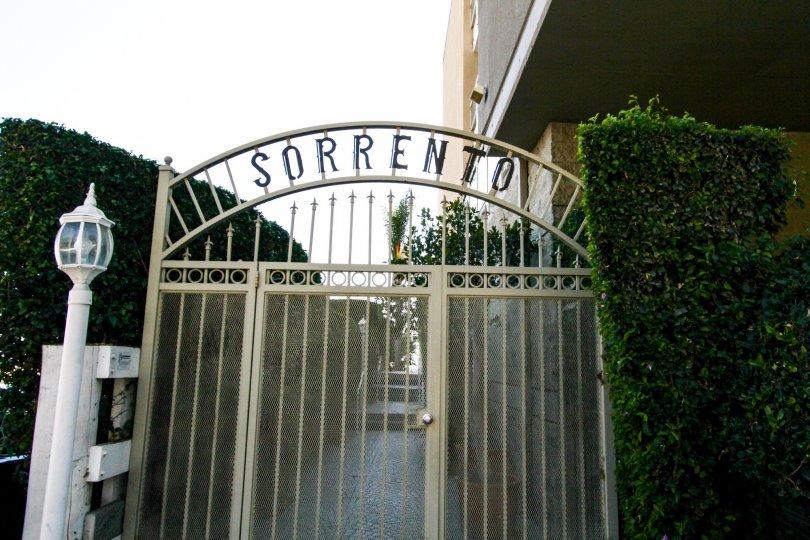 The gate into the Sorento Grill in Santa Monica