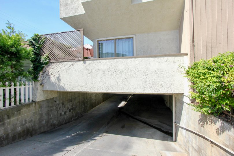 A very close view of Stanford Townhomes's underground drive in entrance santa monica, california