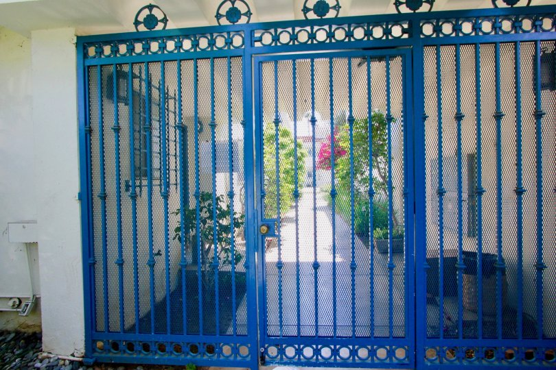 Awesome blue gate of the Mediterranean Community, Santa Monica