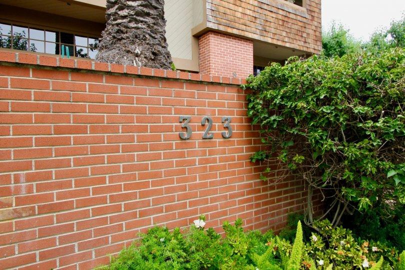 The brick facade at the Villas Vicente in Santa Monica California
