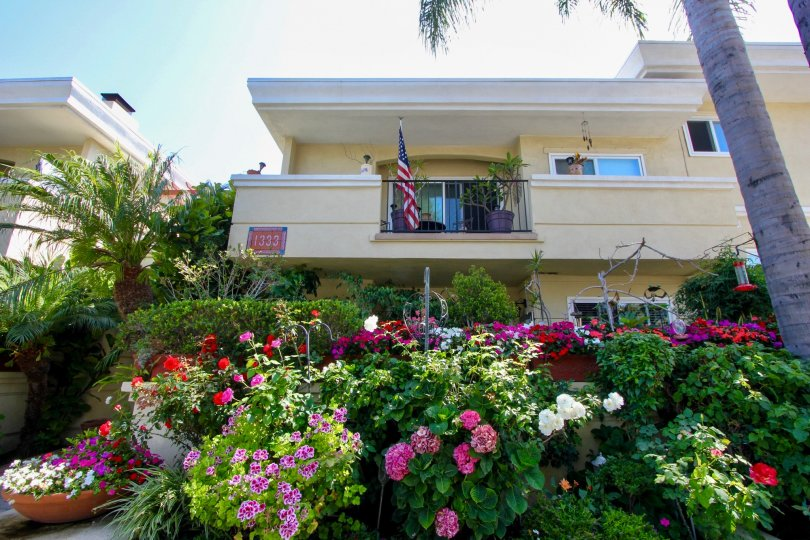 Coloroful front garden exterior of Yale Street Condos 1333 in Santa Monica CA