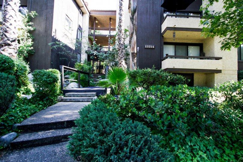 The balconies seen at 13214 Moorpark St in Sherman Oaks