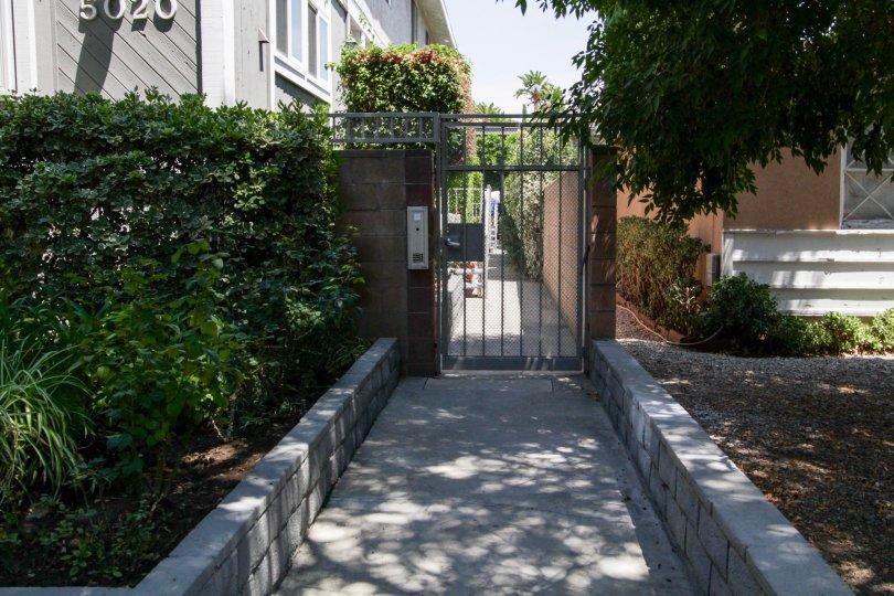 The gated entrance at 5020 Tilden Ave in Sherman Oaks