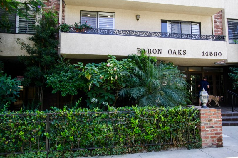 The Baron Oaks name written on the building