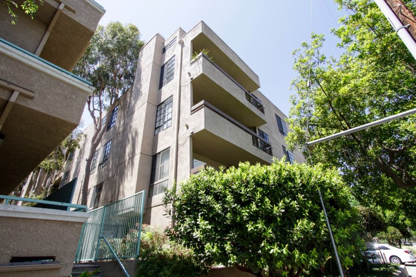 The balconies seen at Dickens Court Condominiums in Sherman Oaks