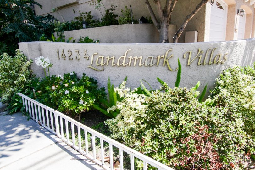 The Landmark Villas name upon entering the property in Sherman Oaks