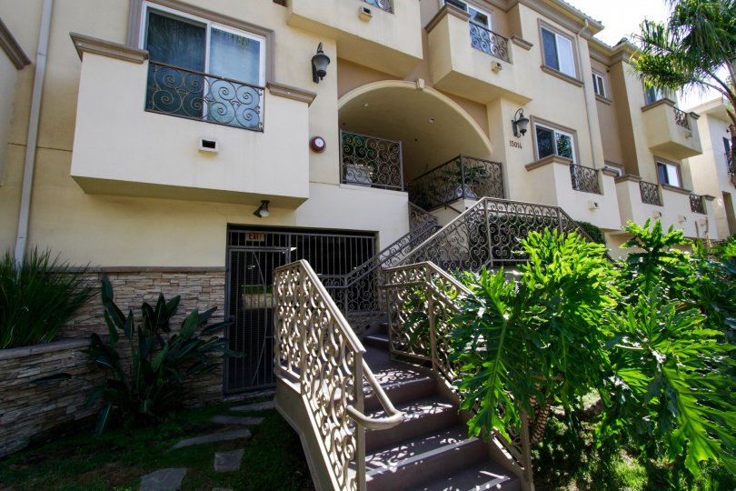 The stairs up to the entrance of Magnolia Terrace in Sherman Oaks