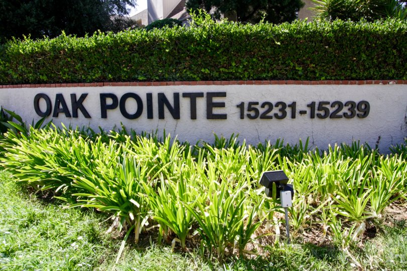 The sign upon arriving at Oak Pointe in Sherman Oaks