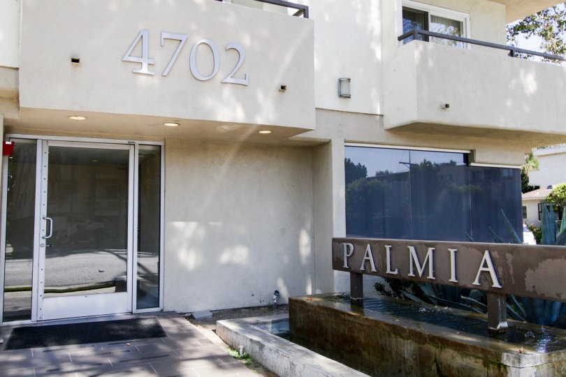 The address on the Palmia Condominiums building in Sherman Oaks