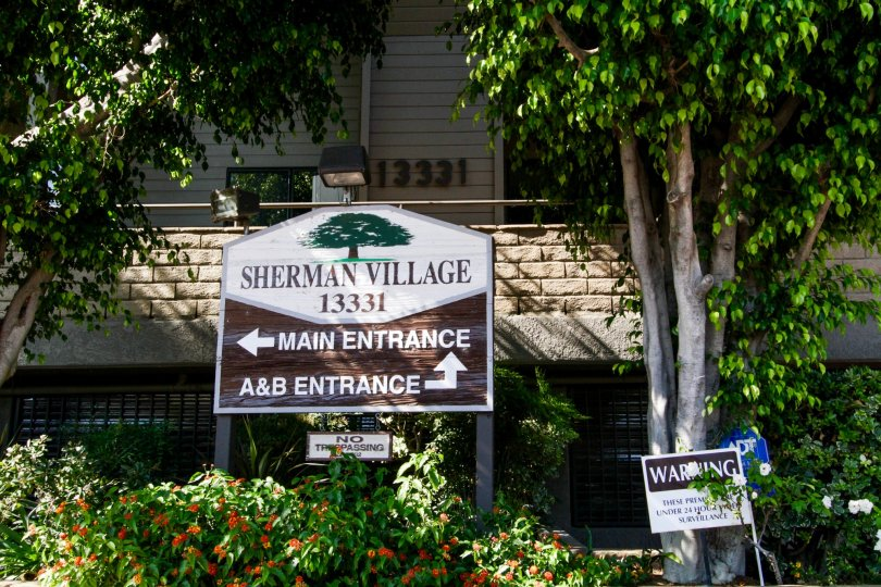 The sign welcoming you to the Sherman Village in Sherman Oaks