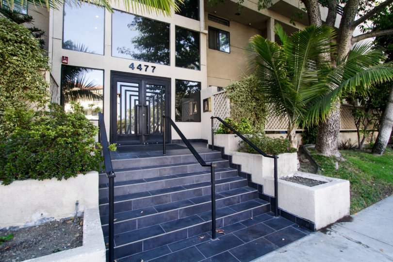The stairs at Woodman Villas in Sherman Oaks