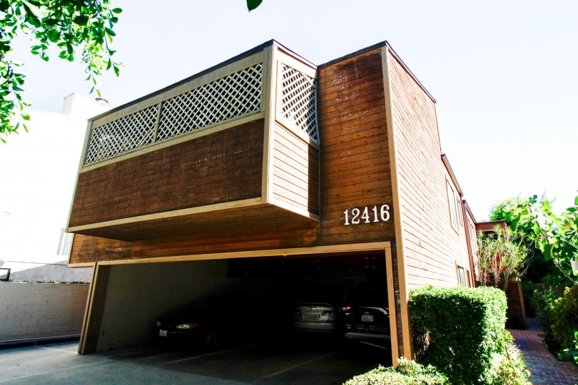The garage for parking at 12416 Moorpark St in Studio City