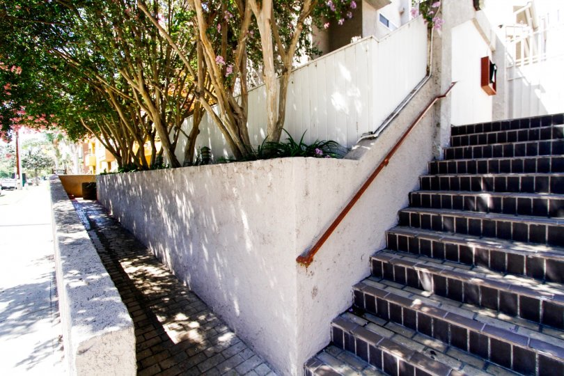 The stairs leading up to Bluffside Townhomes