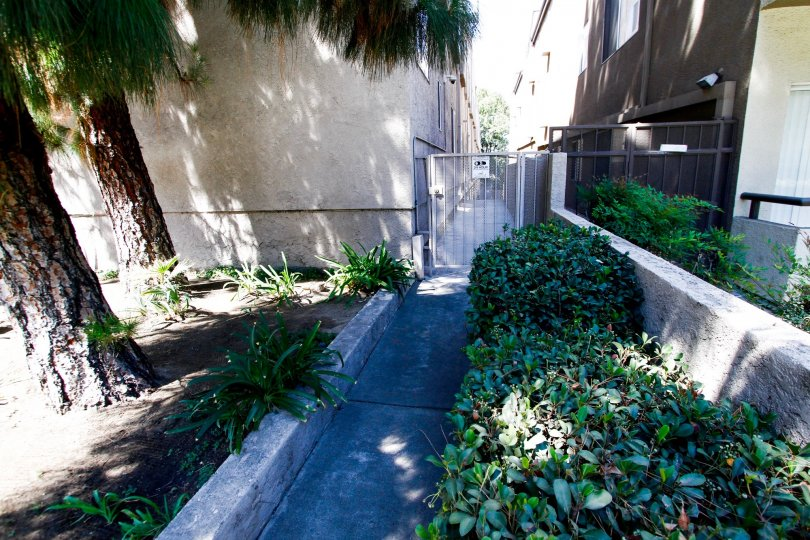 The walkway to the side of Bluffside Townhomes