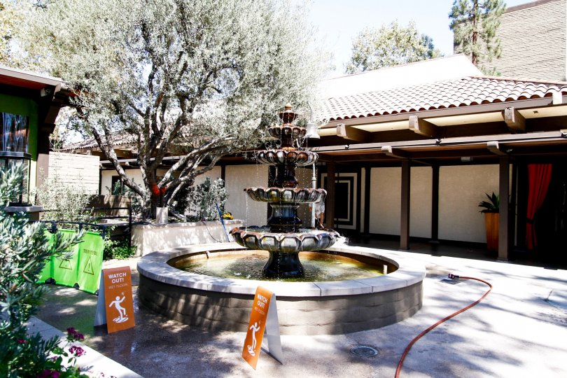 The fountain seen in front of Casa De Oro