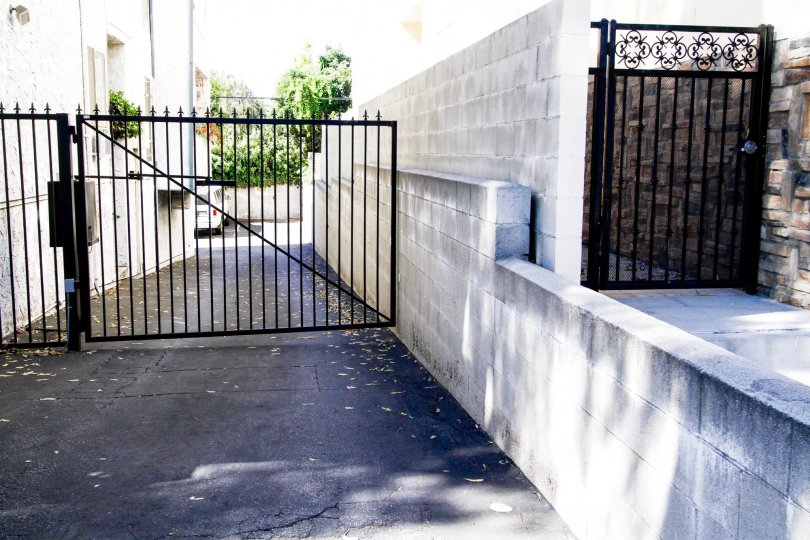 The parking gate for residents at Moorpark Villas in Studio City