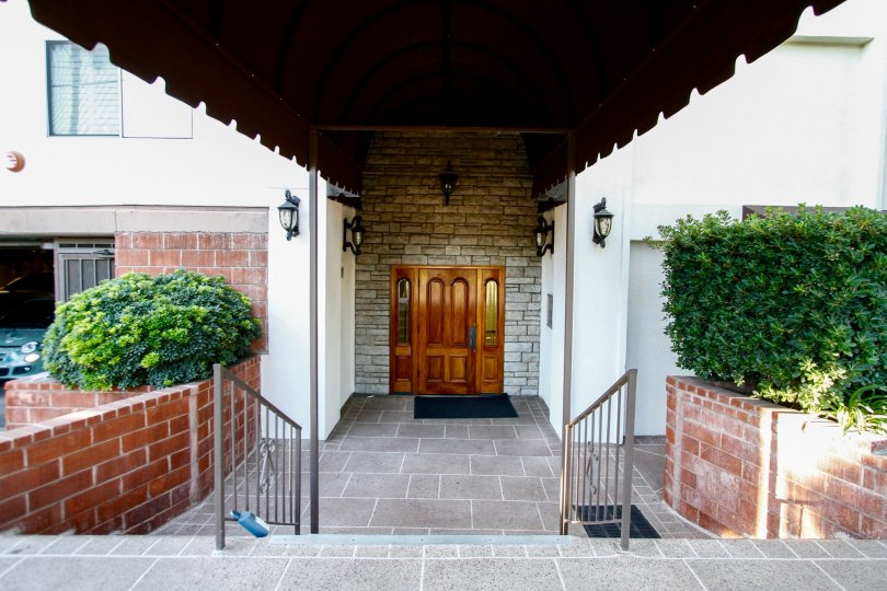 The doors leading into the Parkside Condominiums in Studio City