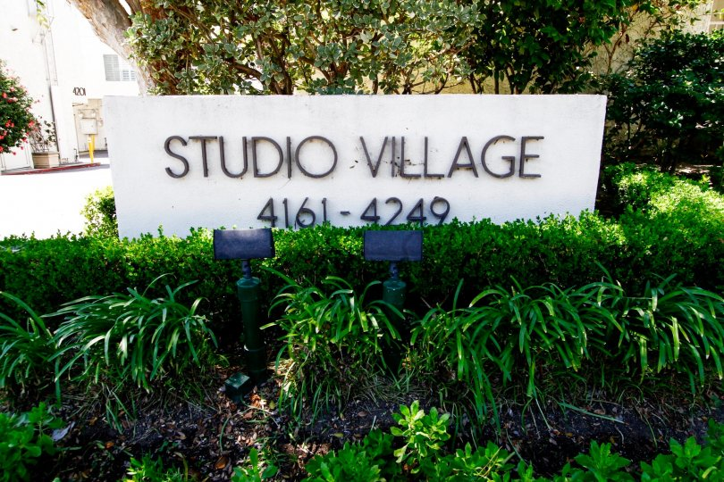 The welcoming sign into Studio Village in Studio City
