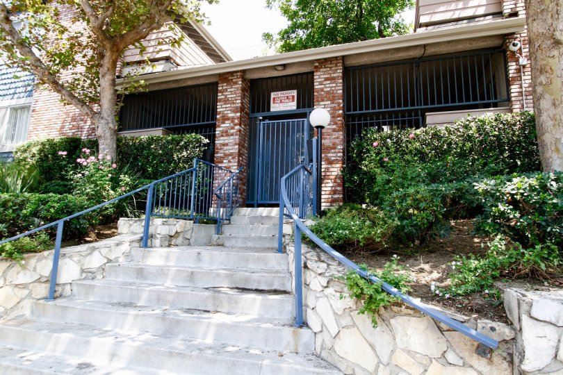The stairs up to Kingsbury Townhomes in Sylmar California