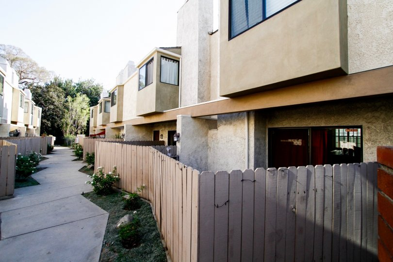 The fence surrounding Burbank Townhomes units