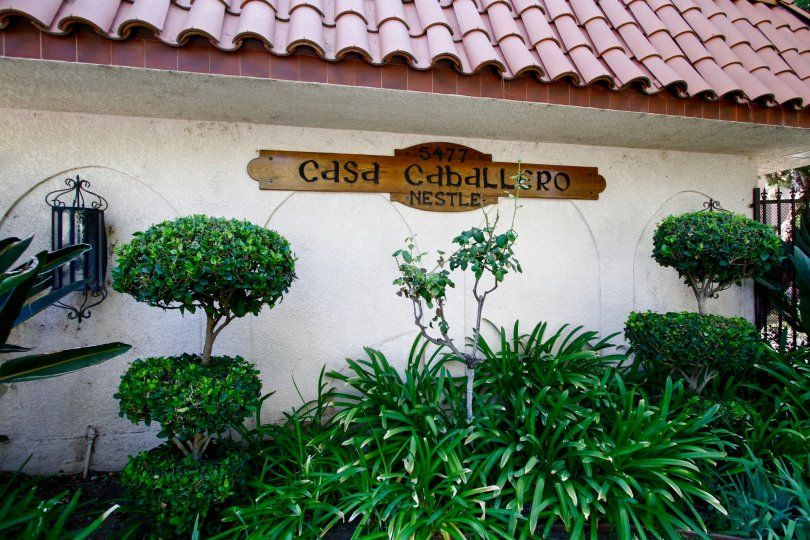 The sign for Casa Caballero on the building in CA California