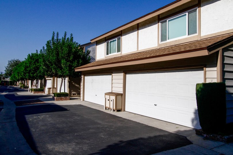 The garage for resident parking at Tarzana Woods in CA California
