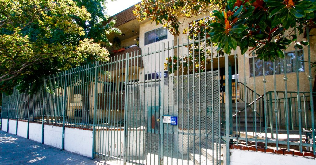 The gated entrance into 6255 Woodlan Ave in Van Nuys
