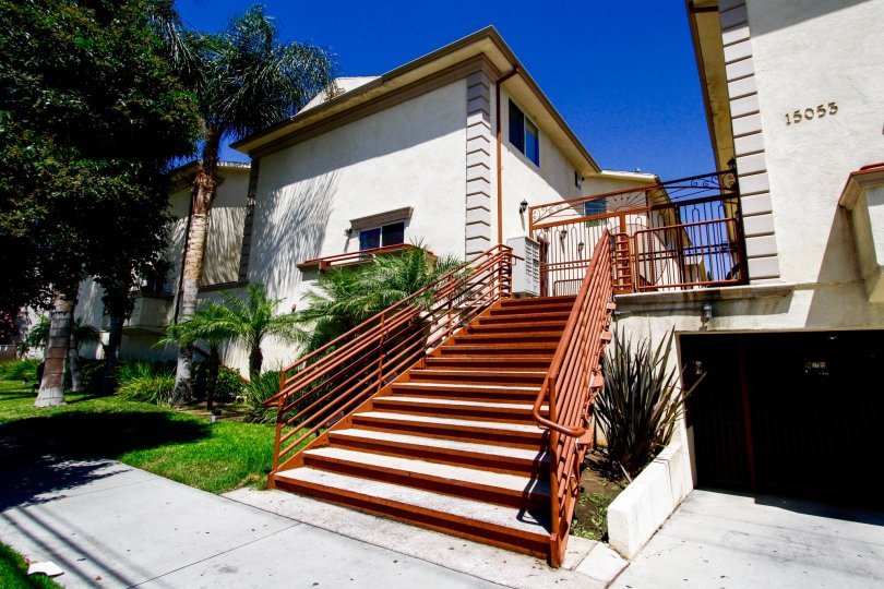The stairs up to the Galaxy Victory Townhomes in Van Nuys