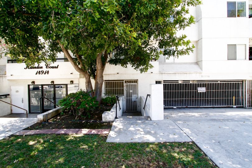 The gated side entrance into Hamlin Court in Van Nuys