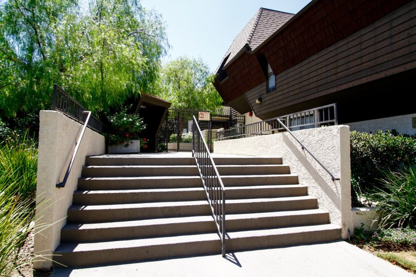 The stairs leading up to the Parkwood Van Nuys located in Van Nuys
