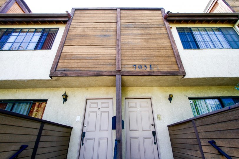 The doors going into units at Peach Avenue Terrace in Van Nuys