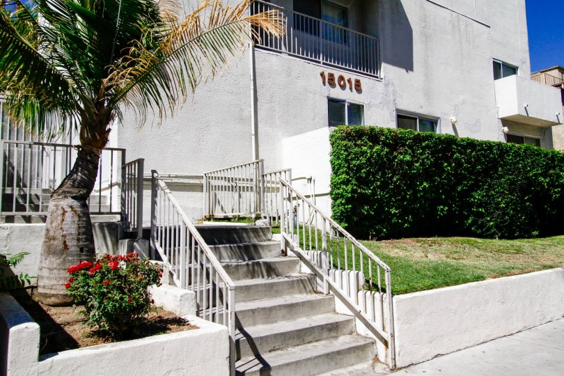 The address for Sherman Way Manor on the building in Van Nuys