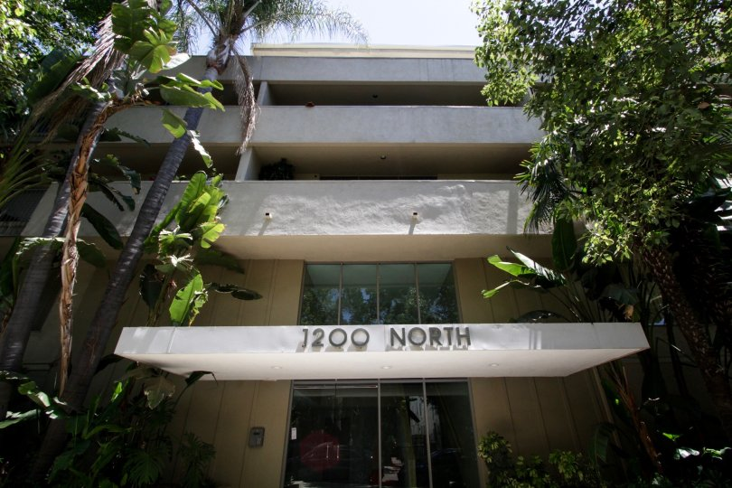 The entrance into 1200 N Flores in West Hollywood